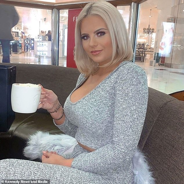 Enterprising Apollonia (pictured with a hot chocolate) tops up her cash flow by flogging merchandise including calendars and previously-worn bikinis and shoes