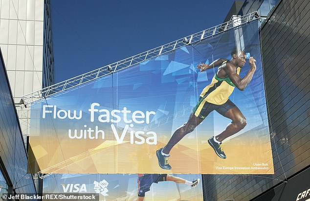 Sponsors have already paid out billions to be associated with the Games (pictured here, a Visa advert featuring Usain Bolt at the London 2012 Olympics)