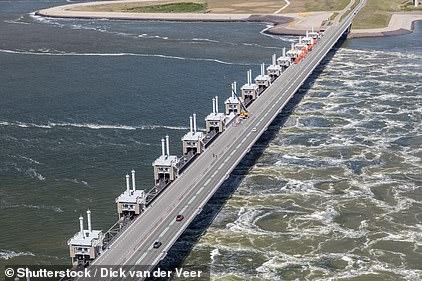The Oosterscheldekering, or Eastern Scheldt Storm Surge Barrier, between Schouwen-Duiveland and Noord-Beveland in the Netherlands
