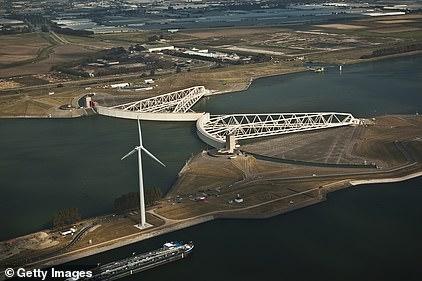 The Maeslant barrier (Maeslantkering) on the Nieuwe Waterweg in South Holland