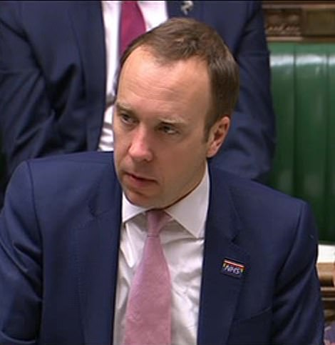 Health Secretary Matt Hancock confirmed the cases in the Commons, warning the situation facing the country is 'increasingly serious'