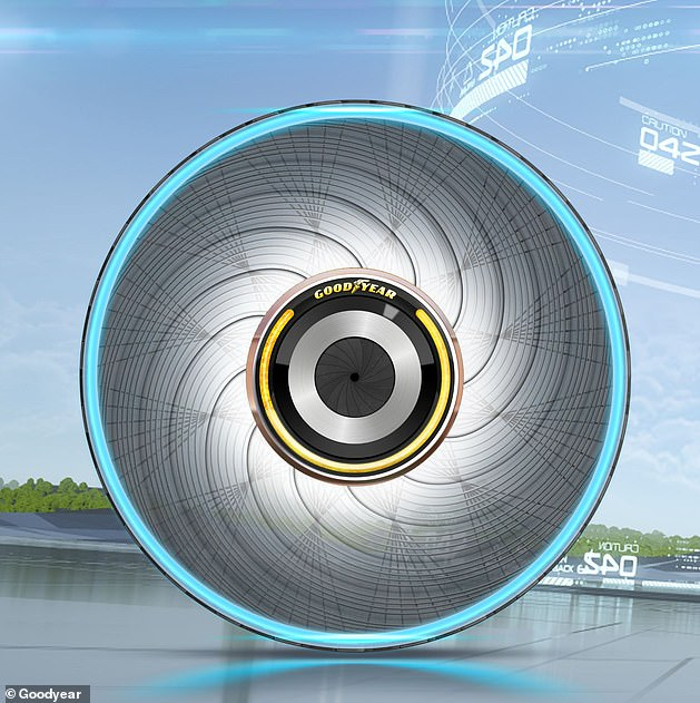 Drivers would be able to recharge their tyres using a liquid capsule and inserting it into the centre of the wheel.The unusual tyre is as of yet just an idea that has not been created by the US-based firm