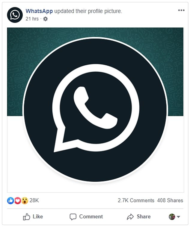 WhatsApp updated its social media channels with a new, black logo in anticipation of the rollout of dark mode