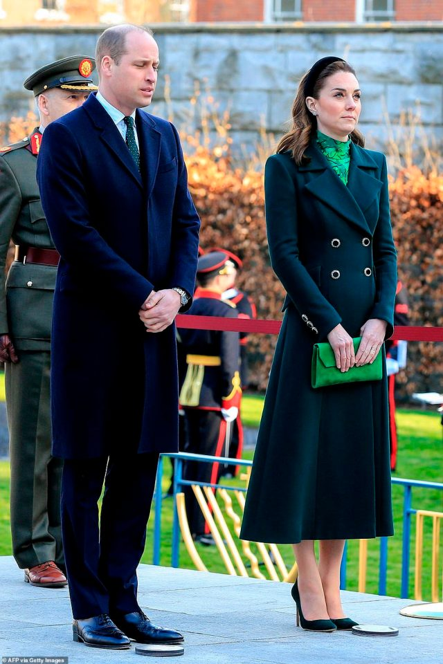 After walking through the garden, and taking their positions on the sculpture platform, the couple watched a guard of honour from the Irish Defence Forces, before the military band, the Army No 1 Band, played the British national anthem for the future king and queen - something that would have been unthinkable just a few decades ago