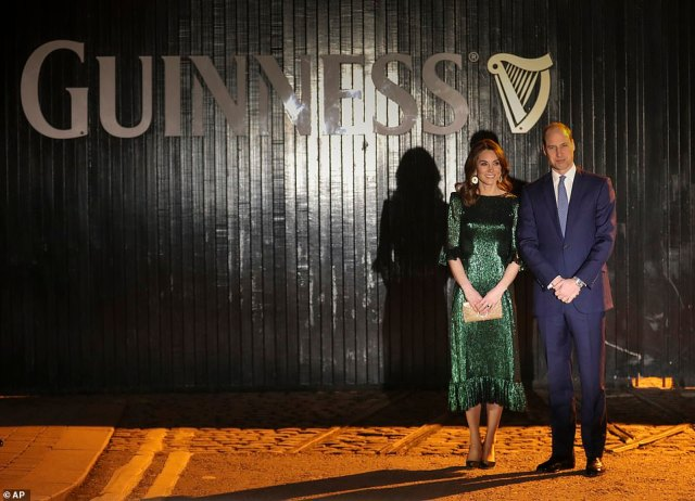 The Duke and Duchess of Cambridge have arrived at the Guinness Storehouse for an evening reception. It is the royal couple's final engagement on their first day visiting Ireland