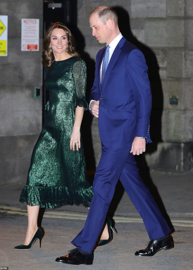 The Duke and Duchess of Cambridge arrive for a reception hosted by the British Ambassador to Ireland at the Gravity Bar, Guinness Storehouse