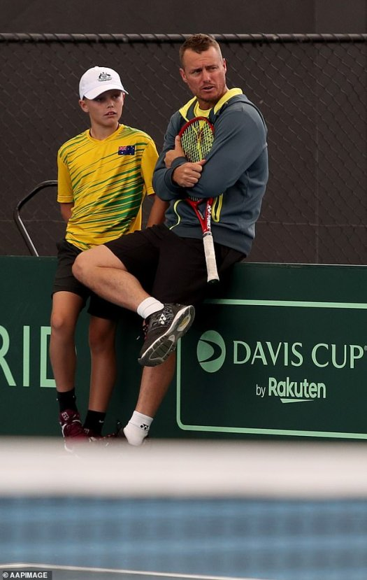 Australian tennis champ Lleyton Hewitt and son Cruz check ...