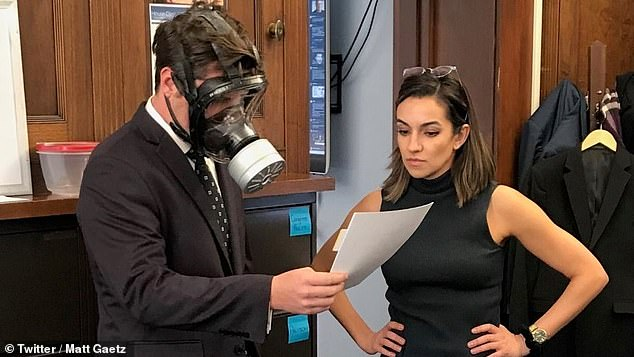 Gaetz, a strong ally of President Donald Trump, was spotted on Wednesday wearing the gas mask ahead of the vote on an emergency spending bill to fight coronavirus.