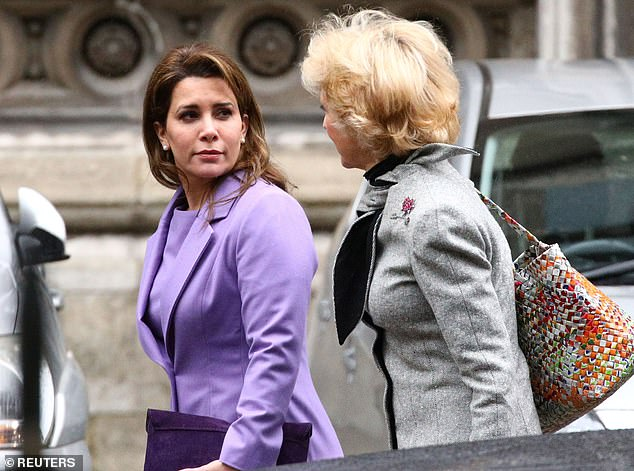 Princess Haya is pictured at the Court of Appeal with Baroness Fiona Shackleton on February 28
