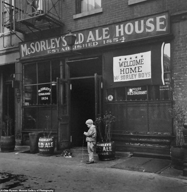 Opened in 1894, McSorley's Old Ale House in New York City's East Village neighborhood is heralded as the city's oldest saloon. This photo snapped in 1945, titled 'Welcome Home McSorley's Boys' salutes soldiers returning home from WWII. The bar famously did not admit women until 1971.