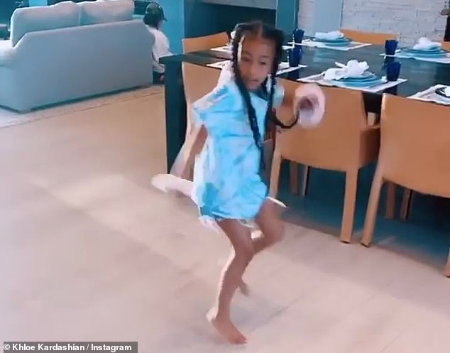 Putting on a show: But it was North who showed off her dancing moves from the corner