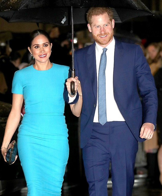 Prince Harry and the Duchess of Sussex Meghan Markle are pictured on Thursday
