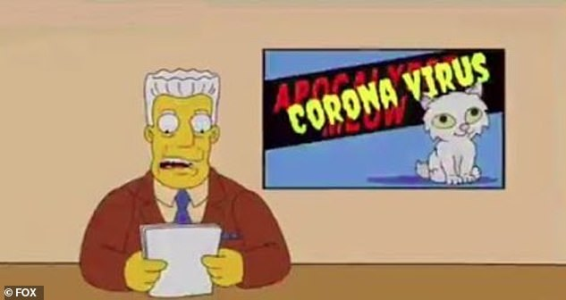 Headline news: Springfield is warned of the arrival of the disease.One person on Twitter even edited 'Osaka flu' to 'Coronavirus' in Kent Brockman's news report from the episode