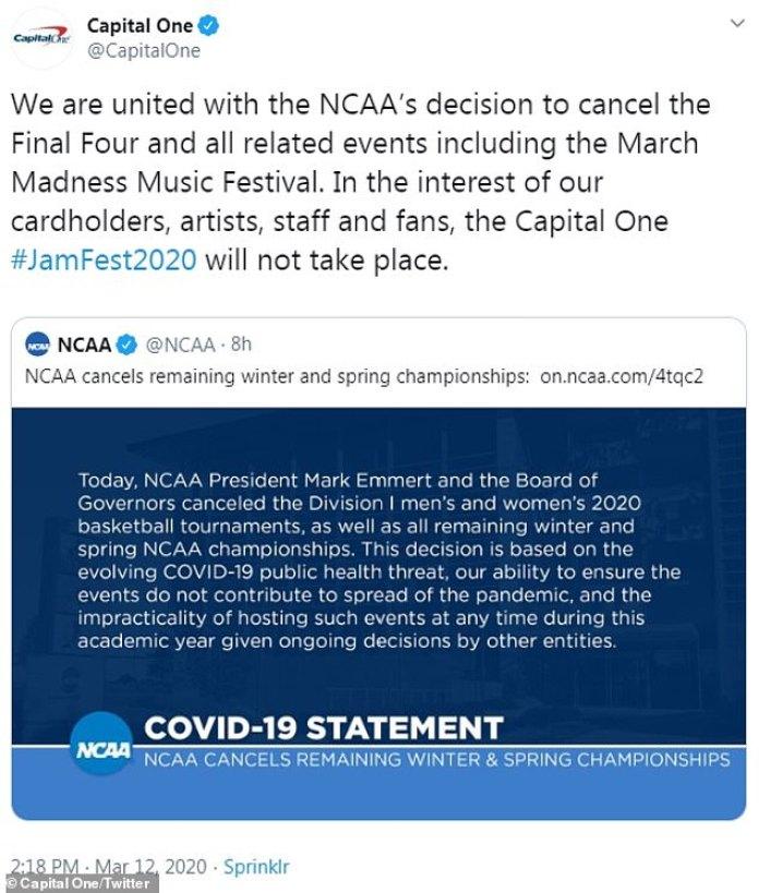 No seguir adelante: el patrocinador de JamFest, Capital One, tuiteó la noticia.  El evento se había programado para el 5 de abril en el Parque Olímpico Centenario de Atlanta durante el fin de semana de la Final Four de Hombres.