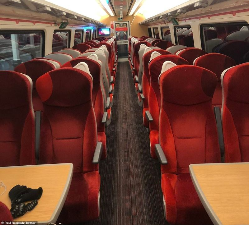 An empty train from Edinburgh Waverley to London King's Cross this morning as people chose or were told to work at homee