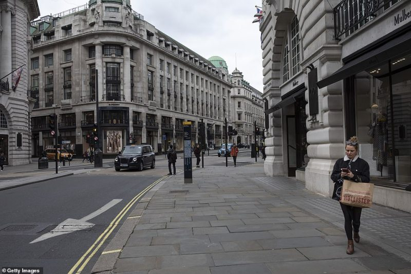 """A quiet Regent Street on the afternoon of Friday the 13th as Britain entered the """"delay"""" phase of emergency planning"""