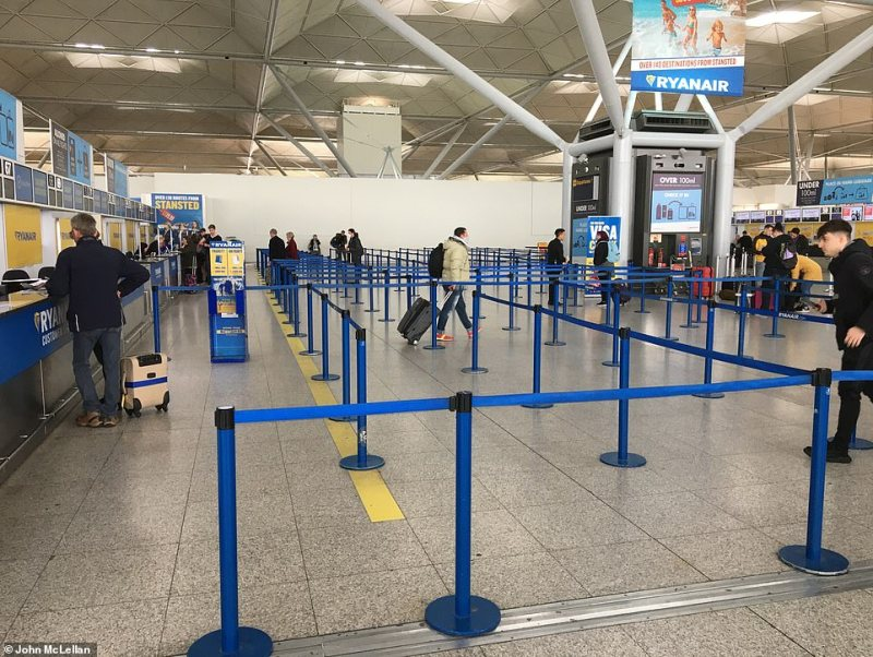Stansted Airport is Ryanair's main UK hub but it was very empty today at a time where many would be heading abroad for the weekend