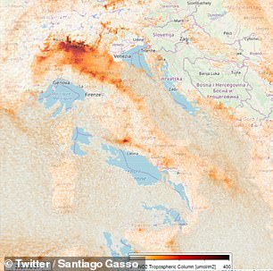 The progress of the air pollution in the European country was documented over a three-week period (captured on February 24)