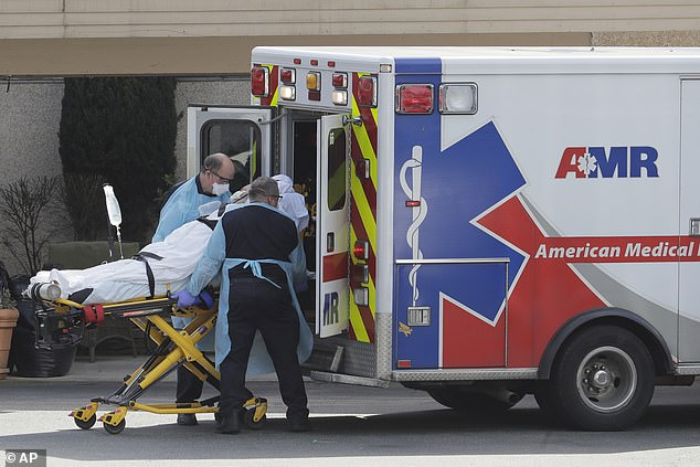 Nearly 2,000 people have contracted the virus in the US. Above, a patient is put in an ambulance at a nursing home in Kirkland, Washington
