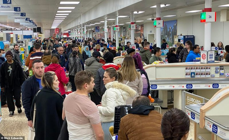 Surrey Quays' Tesco Extra saw huge at the tills as people continued to panic buy in south east London