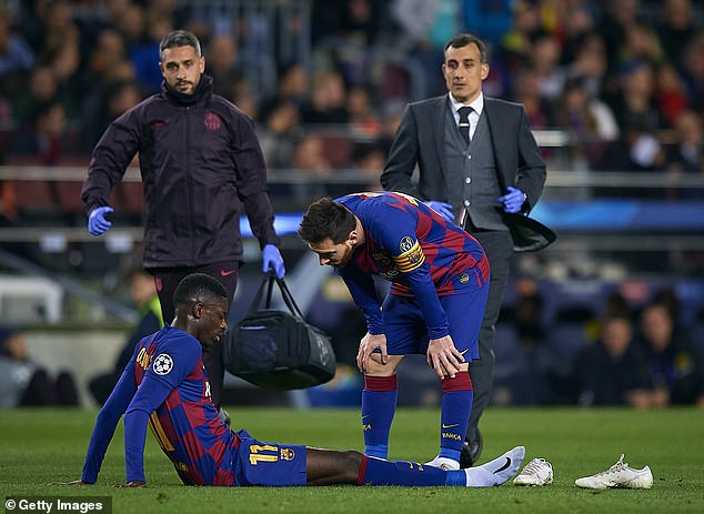 Barcelona's Ousmane Dembele was also on the sidelines with a hamstring injury