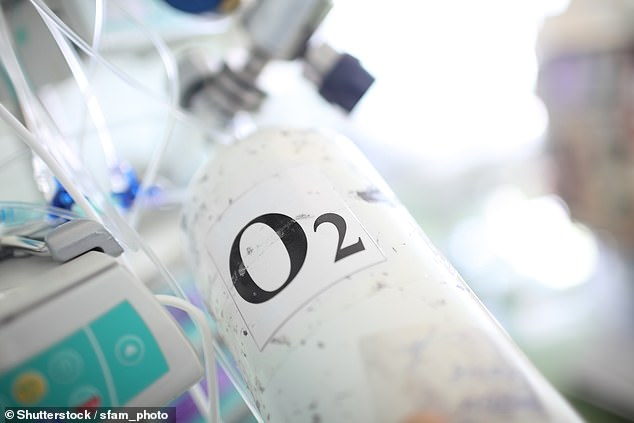 An unnamed London hospital almost ran out of oxygen for coronavirus patients last weekend because it had to treat so many (Stock image of a medical oxygen tank)