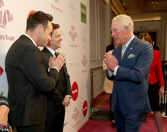 The Prince of Wales was spoken with a Namaste gesture to greet television hosts Ant McPartlin (left) and Declan Donnelly when he came to the annual Prince's Trust Awards 2020 last week