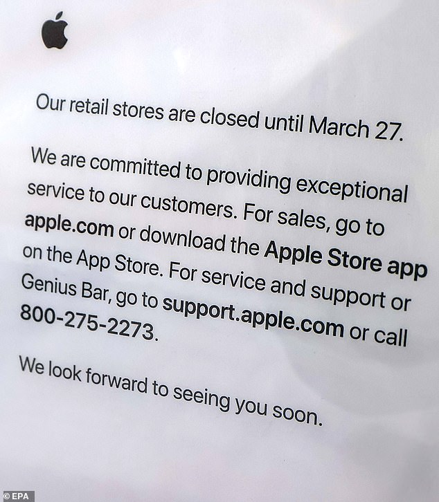 Apple announced last week that it would be closing the doors to its stores outside of China for the next two weeks with March 27th as the re-opening date. Pictured is a sign hanging at a location in Chicago, Illinois