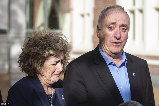 Miss Millane's parents Dave and Gillian speak outside the High Court in Auckland last year