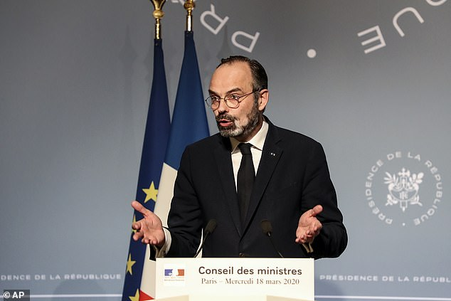 Merkel's announcement comes after French Prime Minister Edouard Philippe  (pictured) detailed the measures of his nation's own measures of its coronavirus bill