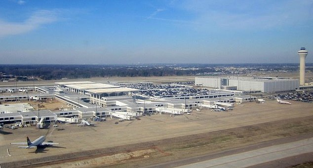 Defense One reports the C-17 aircraft touched down at Memphis International Airport (pictured) which is a major FedEx hub that would allow onward commercial flights to carry the kits around the rest of the country
