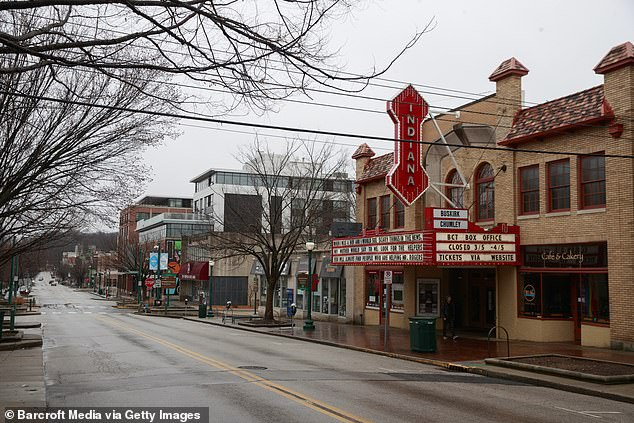 The Indiana Theatre is deserted as residents stay off the streets in Bloomington amid the coronavirus pandemic