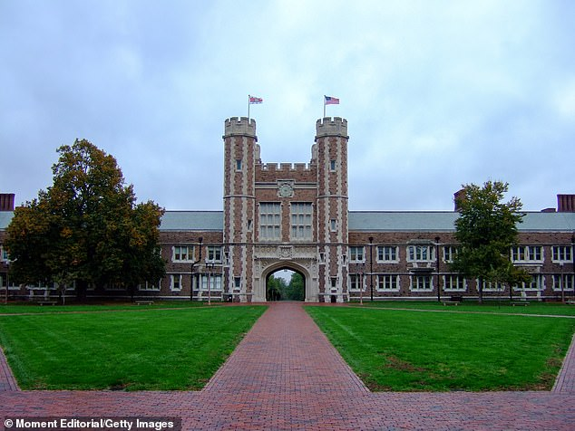 Two doctors at Washington University in St Louis, Missouri (pictured), tested positive for the virus on Wednesday,