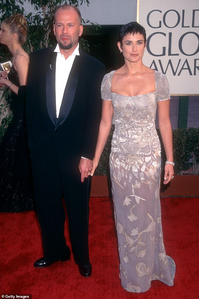 He couples: Moore and Willis met at the premiere of boyfriend-cop Stakeout in 1987 and married later that year. Seen at the Golden Globes 1997 above