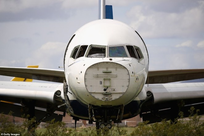 Decommissioned and suspended commercial aircraft are seen stored in Pinal Airpark