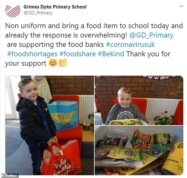 Acts of kindness are becoming common as Britons help out as much as they can amid the coronavirus outbreak. In Leeds, Grimes Dyke Primary School posted pictures of their pupils hauling bags stuffed with goods to donate to food banks (pictured)