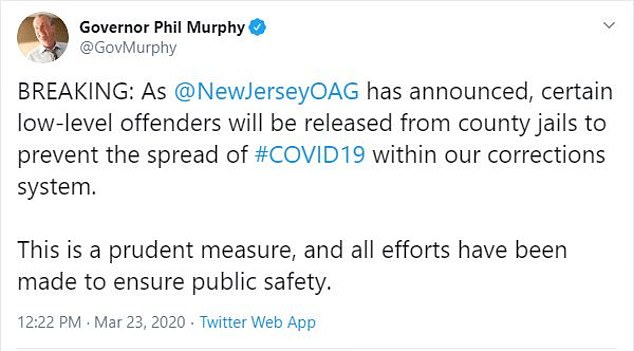 Governor Phil Murphyrevealed in a tweet that 'certain low-level offenders will be released from county jails to prevent the spread of #COVID19 within our corrections system'