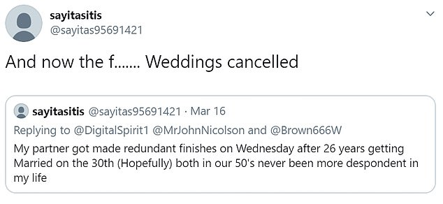 Other heartbroken brides-to-be as well as their family members took to social media last night to share their sorrow at being forced to cancel their special days