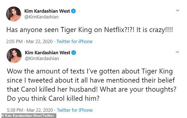 В понедельник 39-летняя звезда реалити-шоу написала в Твиттере: «Ух ты, сколько текстов я получила о Тайгере Кинге с тех пор, как я твитнула об этом, все они упомянули, что они [Carole] убил ее мужа! о чем ты думаешь? Ты думаешь [Carole] убил его?'