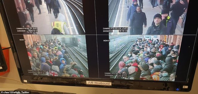 This CCTV on the westbound Jubilee Line showed just how busy platforms are as workers kept commuting