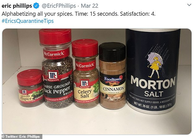 New Yorker Eric Phillips posted a photograph of his very limited spice cupboard on Twitter, while jokingly suggesting to others that they alphabetize ingredients while in quarantine