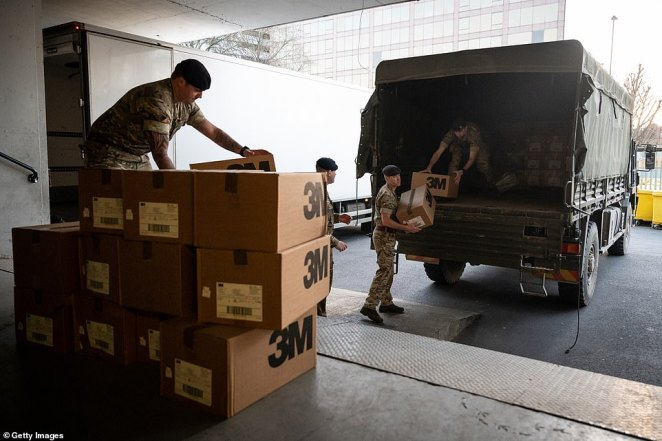 There are currently 50 members of the military tasked with getting vital kit to the NHS, including those at St Thomas' today
