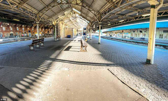 Bristol Temple Meads train station as empty of rush-hour commuters and travelers at 8am the day after Prime Minister Boris Johnson put the UK in lockdown