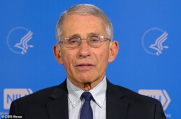 Trump was asked if Dr Anthony Fauci (pictured) America's No1 infectious disease expert and a reassuring face and voice during this pandemic, agreed with him about putting the economy before public health. 'He doesn't agree,' Trump replied. He was not at last night's presser