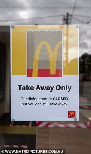 A Takeaway Only sign at McDonald's