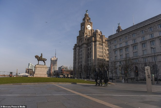 An empty Liverpool Pier Head this morning after Boris Johnson put the whole of the UK into a coronavirus lockdown