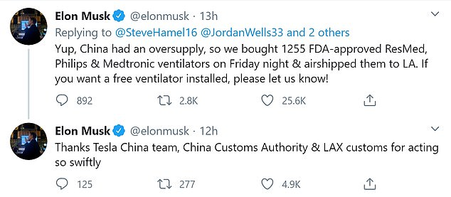 Telsa CEO Elon Musk thanked his team in China for their speed in shipping the ventilators