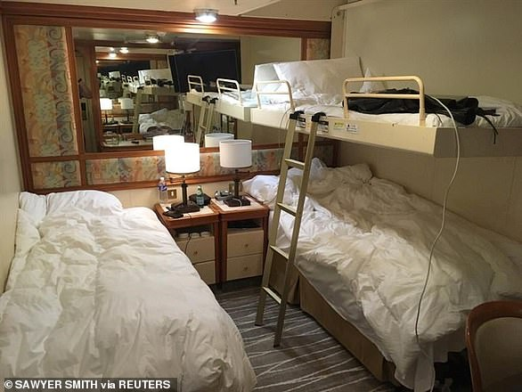 Traces of the deadly virus were found in the cabins more than two weeks after passengers were evacuated and before a deep clean. Pictured, a general picture of a cabin on the ship