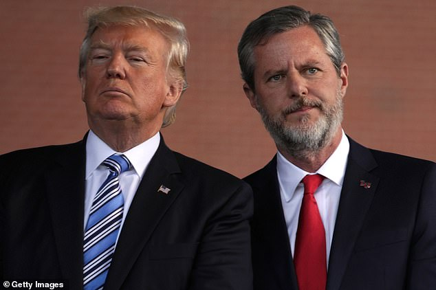 Like the President, Falwell has previously downplayed the threat of COVID-19. The pair are pictured in 2017