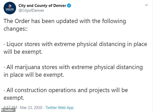 Soon after they followed up with this notice announcing that liquor stores, marijuana dispensaries and construction projects would be exempt from the shelter at home order